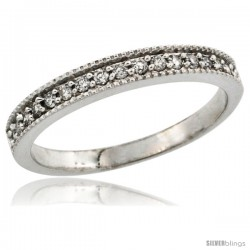 14k White Gold Ladies' 3mm Diamond Wedding Ring Band w/ 0.168 Carat Brilliant Cut Diamonds