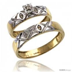 14k Gold 2-Pc Diamond Ring Set (4.5mm Engagement Ring & 5mm Man's Wedding Band), w/ 0.043 Carat Brilliant Cut Diamonds
