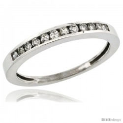 14k White Gold 3mm Classic Channel Set Diamond Ring Band w/ 0.18 Carat Brilliant Cut Diamonds