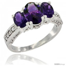 14k White Gold Ladies Oval Natural Amethyst 3-Stone Ring Diamond Accent