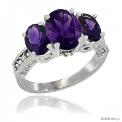 14K White Gold Ladies 3-Stone Oval Natural Amethyst Ring Diamond Accent