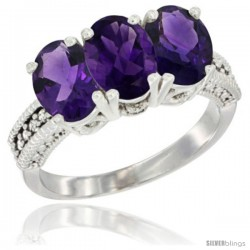 14K White Gold Natural Amethyst Ring 3-Stone 7x5 mm Oval Diamond Accent