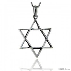 Sterling Silver Star of David Pendant, 1 1/4 in long