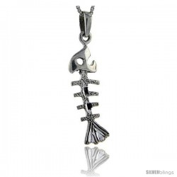 Sterling Silver Fishbone Pendant, 1 1/2 in tall