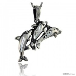Sterling Silver 3 Dolphins Pendant, 1 1/4 in tall