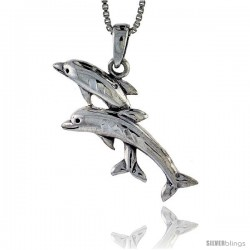 Sterling Silver Dolphin Pendant, 1 1/8 in tall