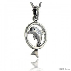 Sterling Silver Dolphin in Ring Pendant, 1 in tall