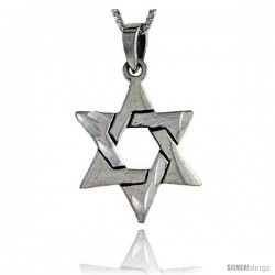 Sterling Silver Star of David Pendant, 1 in long