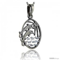 Sterling Silver Dolphin Pendant, 1 3/8 in tall -Style Pa270