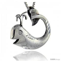 Sterling Silver Whale Pendant, 1 in tall -Style Pa283