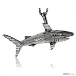 Sterling Silver Shark Pendant, 5/8 in tall