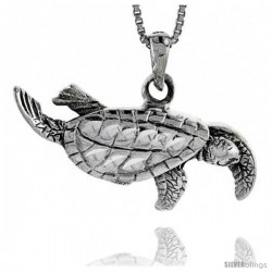 Sterling Silver Sea Turtle Pendant, 3/4 in tall
