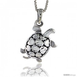 Sterling Silver Turtle Pendant, 3/4 in tall -Style Pa295