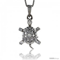 Sterling Silver Turtle Pendant, 7/8 in tall