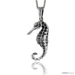 Sterling Silver Seahorse Pendant, 1 1/16 in tall