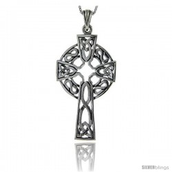 Sterling Silver Celtic Cross Pendant, 2 in long
