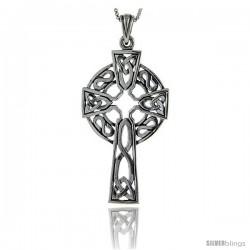 Sterling Silver Celtic Cross Pendant, 2 in long