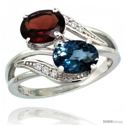 14k White Gold ( 8x6 mm ) Double Stone Engagement London Blue Topaz & Garnet Ring w/ 0.07 Carat Brilliant Cut Diamonds & 2.34