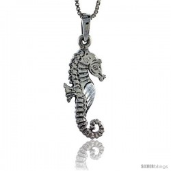 Sterling Silver Seahorse Pendant, 1 1/8 in tall -Style Pa303