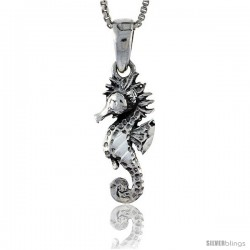 Sterling Silver Seahorse Pendant, 7/8 in tall