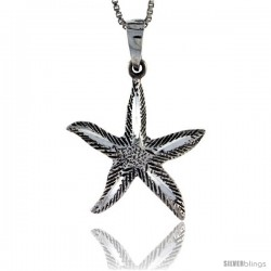Sterling Silver Starfish Pendant, 1 1/8 in tall