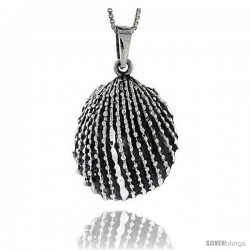 Sterling Silver Clamshell Pendant, 1 1/4 in tall
