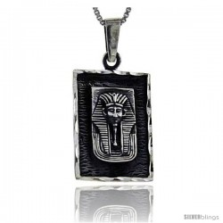 Sterling Silver Egyptian King Tut Mask in a frame Pendant, 1 in long
