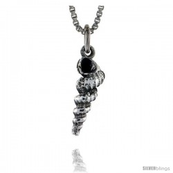 Sterling Silver Sea Snail Shell Pendant, 5/8 in tall