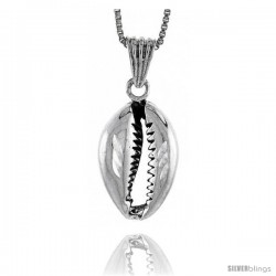 Sterling Silver Shell Pendant, 7/8 in tall