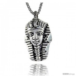 Sterling Silver Egyptian King Tut Mask Pendant, 3/4 in long