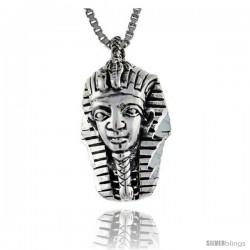 Sterling Silver Egyptian King Tut Mask Pendant, 3/4 in long