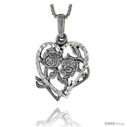Sterling Silver Heart Pendant with Flower, 7/8 in tall -Style Pa337