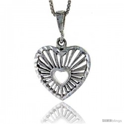 Sterling Silver Heart-in-a-Heart Pendant, 7/8 in tall -Style Pa338