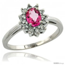 10k White Gold Pink Topaz Diamond Halo Ring Oval Shape 1.2 Carat 6X4 mm, 1/2 in wide