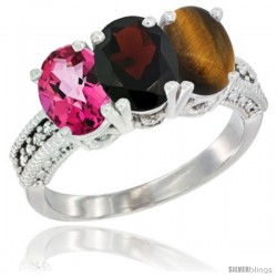 10K White Gold Natural Pink Topaz, Garnet & Tiger Eye Ring 3-Stone Oval 7x5 mm Diamond Accent