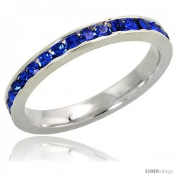 "Sterling Silver Eternity Band, w/ September Birthstone, Sapphire Crystals, 1/8"" (3 mm) wide"