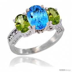 10K White Gold Ladies Natural Swiss Blue Topaz Oval 3 Stone Ring with Peridot Sides Diamond Accent
