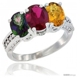 14K White Gold Natural Mystic Topaz, Ruby & Whisky Quartz Ring 3-Stone 7x5 mm Oval Diamond Accent