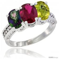 14K White Gold Natural Mystic Topaz, Ruby & Lemon Quartz Ring 3-Stone 7x5 mm Oval Diamond Accent
