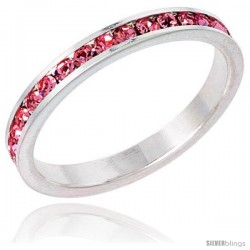 "Sterling Silver Eternity Band, w/ October Birthstone, Pink Tourmaline Crystals, 1/8"" (3 mm) wide"