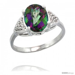 14k White Gold Diamond Mystic Topaz Ring 2.40 ct Oval 10x8 Stone 3/8 in wide