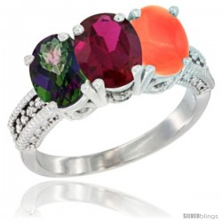 14K White Gold Natural Mystic Topaz, Ruby & Coral Ring 3-Stone 7x5 mm Oval Diamond Accent