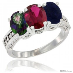 14K White Gold Natural Mystic Topaz, Ruby & Lapis Ring 3-Stone 7x5 mm Oval Diamond Accent