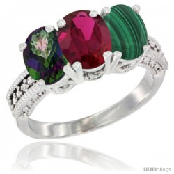 14K White Gold Natural Mystic Topaz, Ruby & Malachite Ring 3-Stone 7x5 mm Oval Diamond Accent