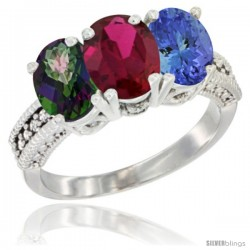 14K White Gold Natural Mystic Topaz, Ruby & Tanzanite Ring 3-Stone 7x5 mm Oval Diamond Accent