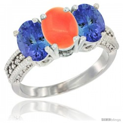 14K White Gold Natural Coral Ring with Tanzanite 3-Stone 7x5 mm Oval Diamond Accent