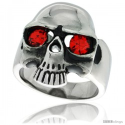 Surgical Steel Biker Skull Ring with Red CZ Eyes