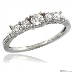 14k White Gold 5-Stone Diamond Ring w/ 0.47 Carat Brilliant Cut ( H-I Color SI1 Clarity ) Diamonds, 1/8 in. (3.5mm) wide