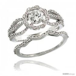 14k White Gold 2-Pc. Floral Diamond Engagement Ring Set w/ 0.41 Carat (Center) & 0.44 Carat (Sides) Brilliant Cut ( H-I Color
