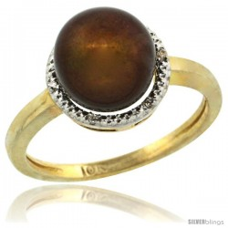14k Gold Halo Engagement 8.5 mm Brown Pearl Ring w/ 0.022 Carat Brilliant Cut Diamonds, 7/16 in. (11mm) wide
